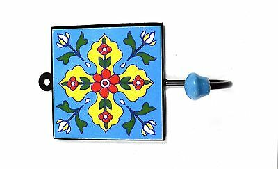 Vintage Handmade Beautiful Ceramic Tile Wall Hanging Hook Decorative. i75-51 UK 4