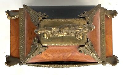 Franz Hermle Inlaid Walnut TING TANG Mantel Bracket Clock Antique Louis XV Style 6