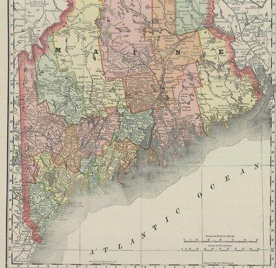 1893 Rand McNally & Co., Maine (Original Antique Map, Printed Color) 3