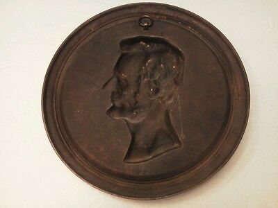 """Lincoln Cast Metal Plaque Compliments of Foster Merriam Co. Merriam CT  11 1/4"""" 4"""