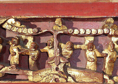 Antique CHINESE figural HIGH RELIEF wood PANEL gold RED 25 inches 7