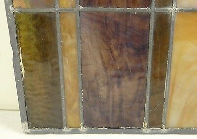 GEOMETRIC RECTANGULAR LEADED-STAINED GLASS WINDOW~HEAVY OBSCURITY~Art Deco 22x15 11