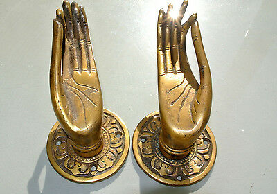 "2 cast Pull handle hands solid brass door aged old style knob hook 5 ""buddha B 3"
