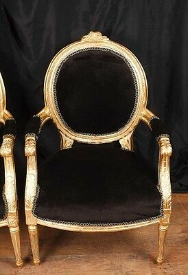 Pair French Empire Gilt Arm Chairs Fauteils 2