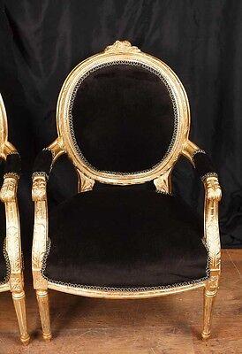 Pair French Empire Gilt Arm Chairs Fauteils 2
