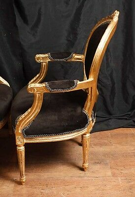 Pair French Empire Gilt Arm Chairs Fauteils 5