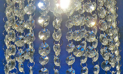 50 / 1m CHANDELIER LIGHT CRYSTALS DROPLETS GLASS BEADS WEDDING DROPS 18 mm PARTS 9