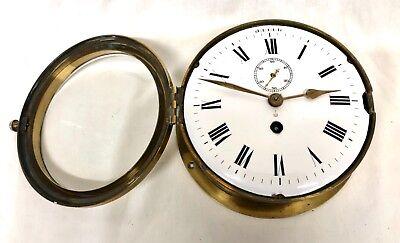 Antique Ships Marine Bulkhead Bulk Head Brass Cased Ships Clock ENAMEL DIAL 4