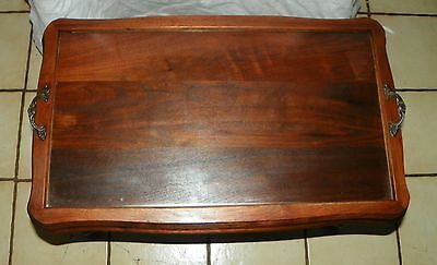 Solid Walnut Carved Coffee Table With Serving Tray Furniture jlc-ct81