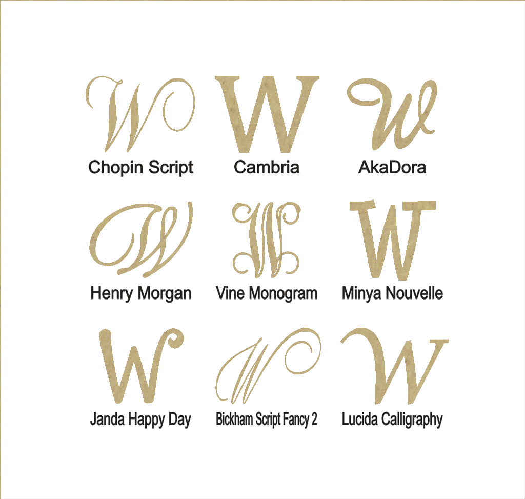 "Unfinished Wooden Monogram Letter /""W/"" in Your Choice of Size and Font"