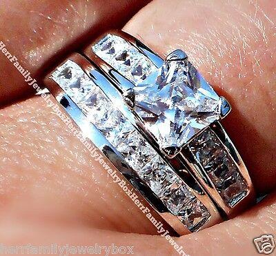Sterling Silver 14k White Gold Princess Diamond cut Engagement Ring Wedding Set 4