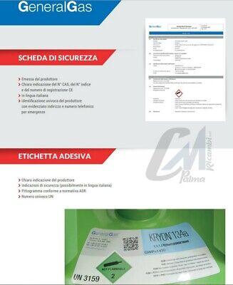 Bombola Gas Refrigerante Condizionatori R134A Da 12 / 2,5 / 0,9 Kg Conforme Eu 10
