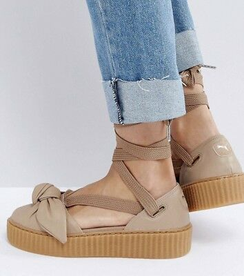 check out 2d096 9af6d NEW FENTY PUMA Sz 7.5 BOW CREEPER LACE UP SANDAL SNEAKER NATURAL OATMEAL  BEIGE