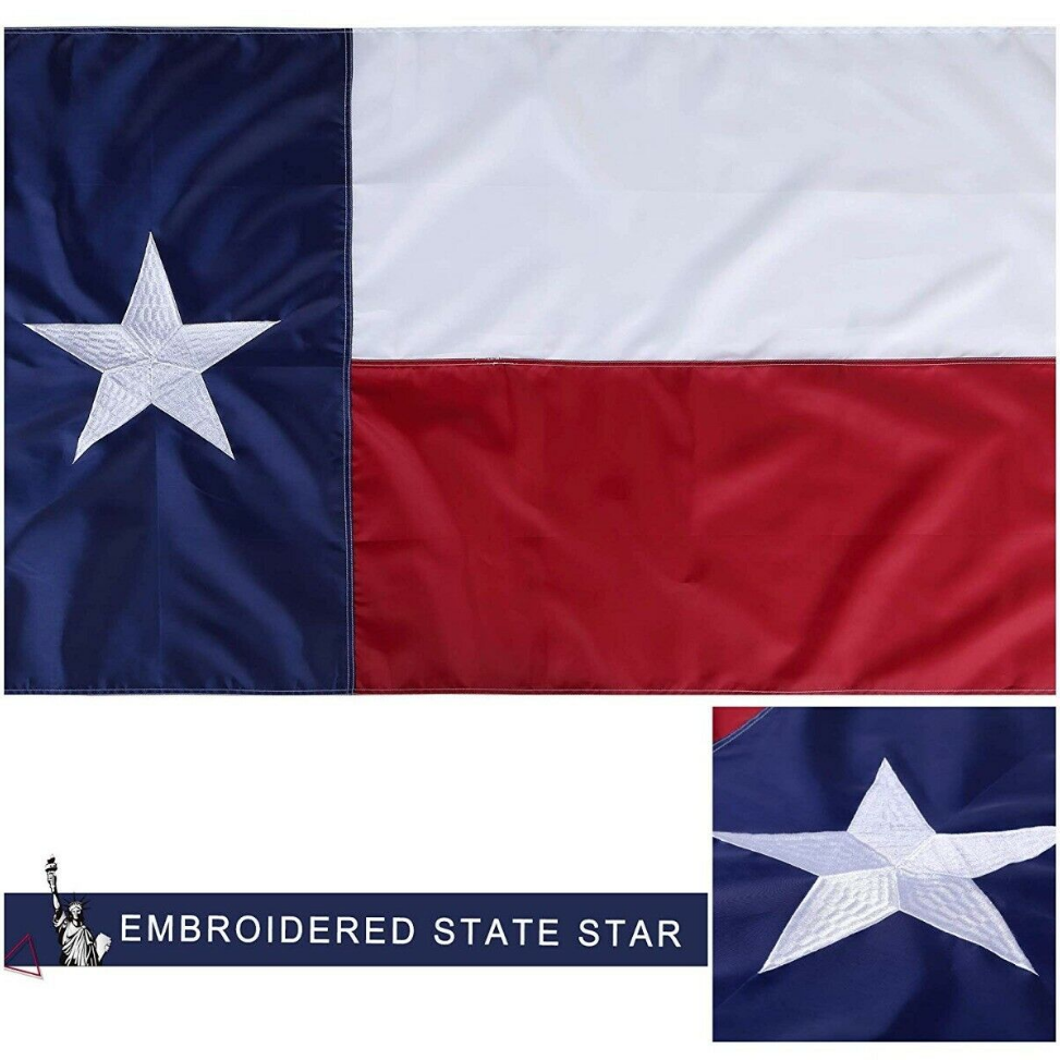 3x5 Texas Flag Embroidered Texas State Banner Grommets FAST USA SHIPPING 2