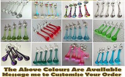 5 Crystals Drops Glass Beads Chandelier Light Prisms Parts Vintage Look Droplets 5