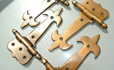 """8 small hinges vintage old age style solid Brass DOOR BOX restoration heavy 5"""" B 6"""