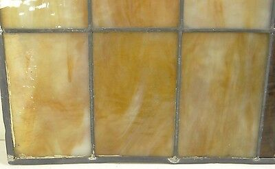 GEOMETRIC RECTANGULAR LEADED-STAINED GLASS WINDOW~Art Deco 22x15~HEAVY OBSCURITY 9