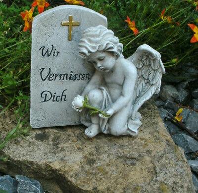 Gro/ßes Herz mit Grablicht Engel und Spruch Wir vermissen Dich Grabdeko Trauerschmuck Trauerdeko Grabfigur Trauerfigur Grabherz
