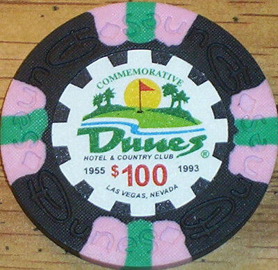 Lot 3 $100 THE DUNES Casino Poker Commemorative Chips House Mold Las Vegas NV 2
