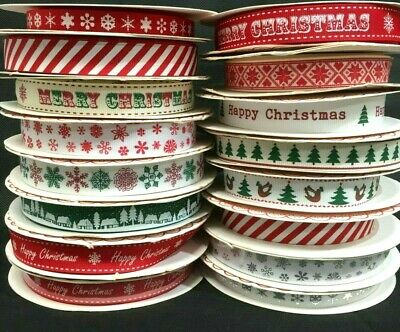 Happy Merry Christmas Ribbons Snowflakes Ribbon Gift Wrapping  1 , 3 or 5 Metres 5