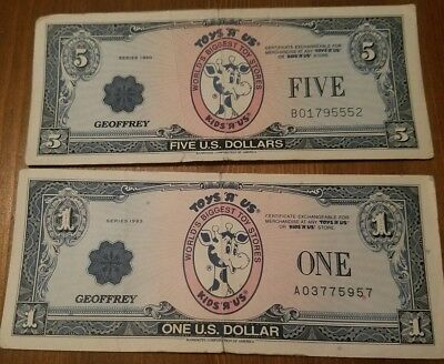 Toys R Us Geoffrey Cash Certificate Dollars Lot 20 10 5 1 Set Great Condition