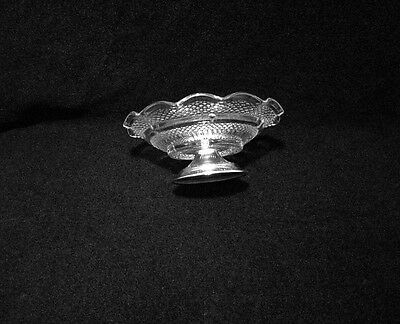 Vintage Glass & Silver Plate Footed Ruffled Edge Nut Dish 4
