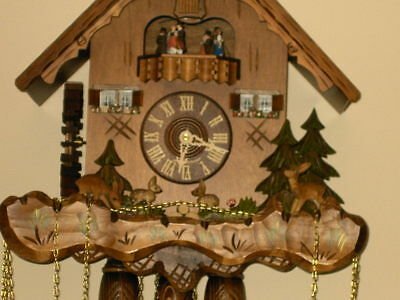 8 day Cuckoo Clock with music and Wooden Weights WORKING  AND SERVICED set of 1 2