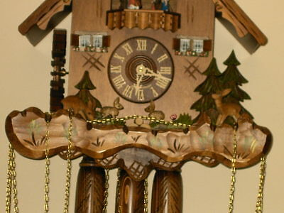 8 day Cuckoo Clock with music and Wooden Weights WORKING  AND SERVICED set of 1 3