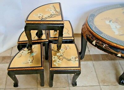 Vintage Asian Black Gold Leaf Mother of Pearl Oval Coffee Table & Five stands 3