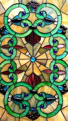 "Window Panel Vintage Victorian Design 17"" W X 28"" L Tiffany Style Stained Glass 2"