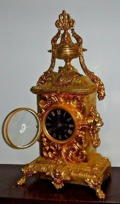 Rare Beautiful French Japy Frere Antique Gilt 8 Day Chime Clock Working 4
