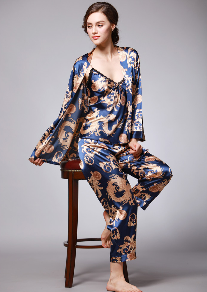 Luxurious Ladies Womens Oriental Golden Dragons Shorts Pyjama Pajama ladpj148