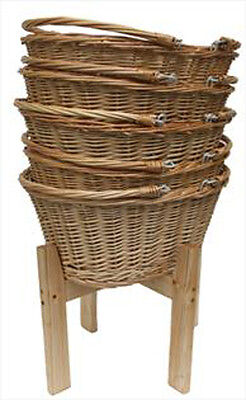 Wicker Shopping Baskets Folding Handles & Wooden Shopping Display Stand - LARGE 2