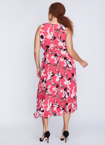 a4745327062 LANE BRYANT Printed Pleated Skirt Dress 14 16 18 20 22 24 26 28 Pink 1x 2x  3x 4x 3 3 of 3 See More