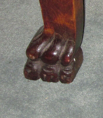 Antique  Wood Barrel Style Captains Chair Carved Old Man Winter Lion & Claw Feet 6