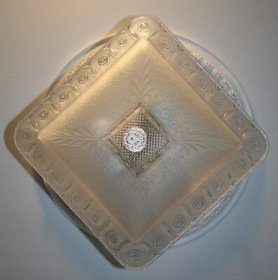 Antique large square frosted glass art deco custom light fixture chandelier 8 • CAD $608.29