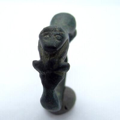Viking Ancient Artifact Bronze Ring - Mythological Snake Tatzelwurm Salamander 2