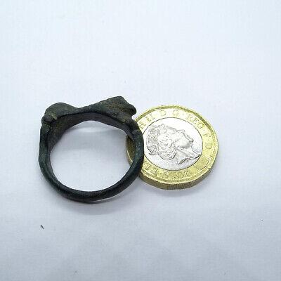 Viking Ancient Artifact Bronze Ring - Mythological Snake Tatzelwurm Salamander 9