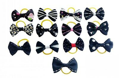 20Pc Mixed Hair Bows W/Rubber Bands For Small Dog Cat Grooming Bowknot Accessory 9