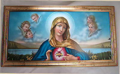 Las Santa María Madre Virgen Gottes Imagen antiguo barroco 77x42 cm Iconos 4