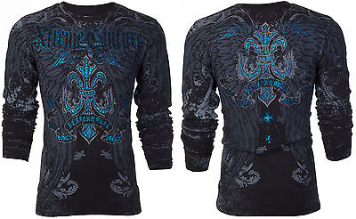 Xtreme Couture AFFLICTION Mens THERMAL T-Shirt SANDSTONE Wings Biker MMA $58 3