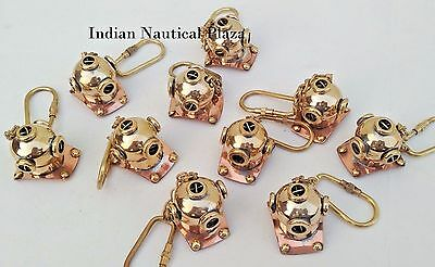 Lot Of 10 Pc New Brass Divers Helmet Keychain Nautical Maritime Yatching Diving 6