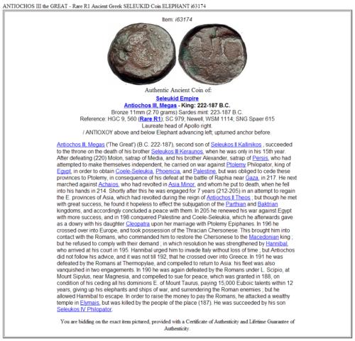 ANTIOCHOS III the GREAT - Rare R1 Ancient Greek SELEUKID Coin ELEPHANT i63174 3