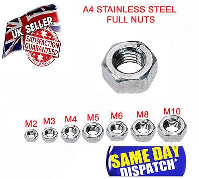 Full Nut Marine Grade A4 Stainless Steel Standard HEXAGON HEAD NUTS 2