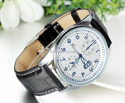 Leather Band Round Quartz Analog Elegant Classic Casual Men's Wrist Watch New 4