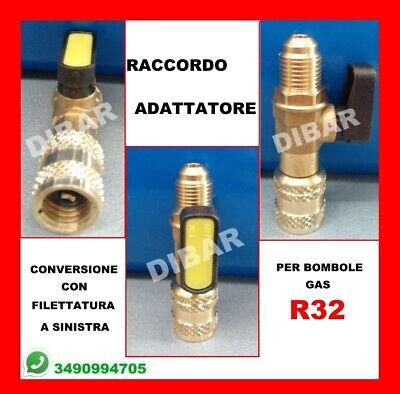 Raccordo Adattatore Con Rubinetto Per Bombole Di Gas R32 1 2