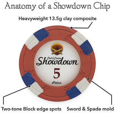 NEW 1000 Showdown 13.5 Gram Clay Poker Chips Acrylic Carrier Case Set Pick Chips 3