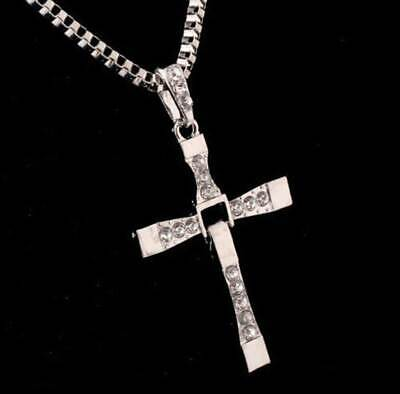 Cross Pendant Necklace Silver Stainless Steel Unisex's Chain Crucifix Men Women 8