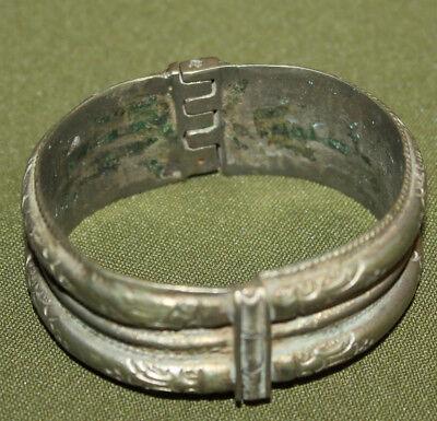 Antique Greek cuff silver plated floral bracelet