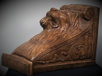 Lion Face Scroll Corbel Bracket Shelf Architectural Accent Wood Stained 3